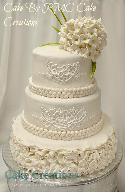 Gorgeous fondant wedding cake by RMC Creations