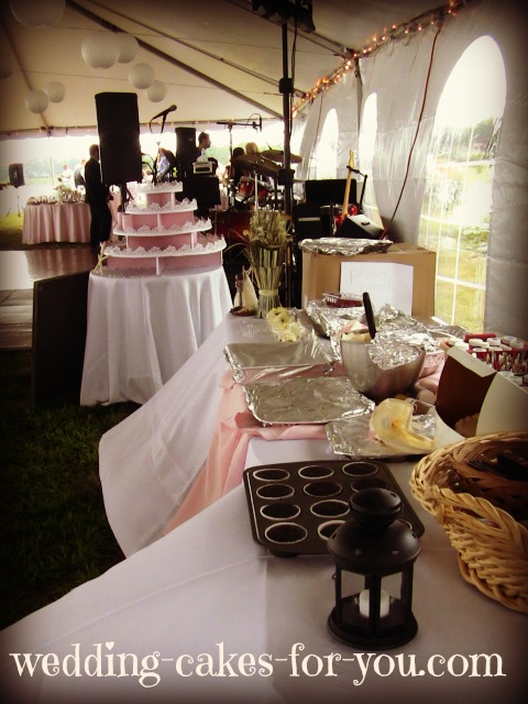 cupcake work station at the wedding