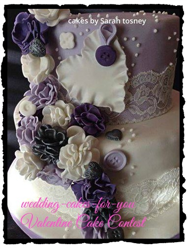 A purple Valentine theme cake by Sarah Tosney