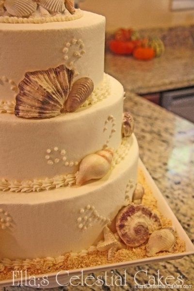 Elia's Celestial Cakes sea shell wedding cake by Elia's Celestial Cakes