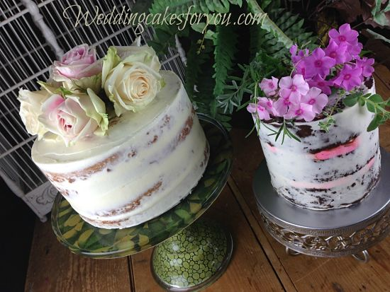 semi naked cakes with fresh flowers