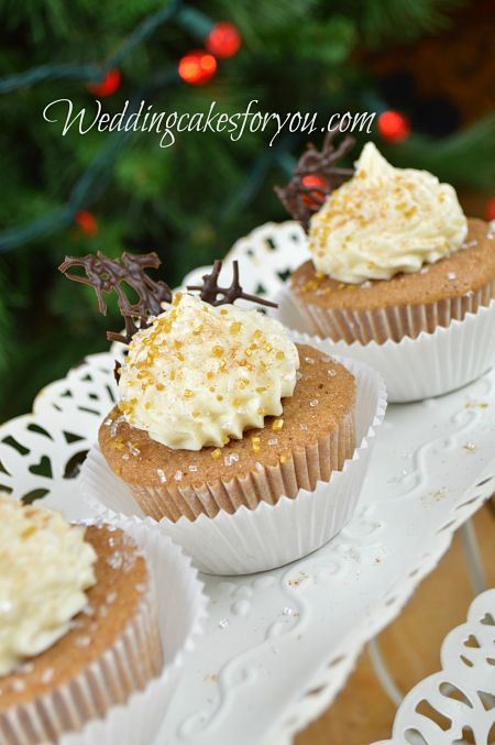 Spice cake recipe cupcakes topped with brown butter frosting.