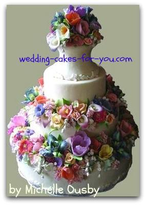 wedding cake with gumpaste flowers