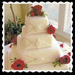 Square wedding cake with chocolate fondant decoration