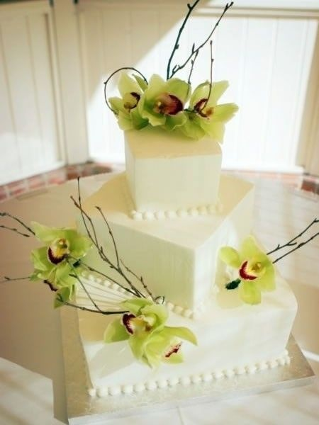 square wedding cake with green orchids