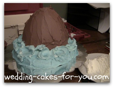 the rock and water base for the mermaid cake