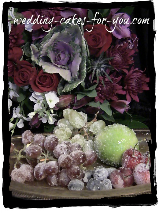 sugared fruit and fresh flowers