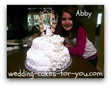 Abby With Her Replica Of Her Grandparents Wedding Cake