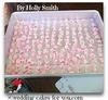 sheet cake pan of flowers.  across and down to keep count like a multiplication table
