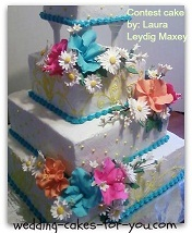 square wedding cake with fondant flowers