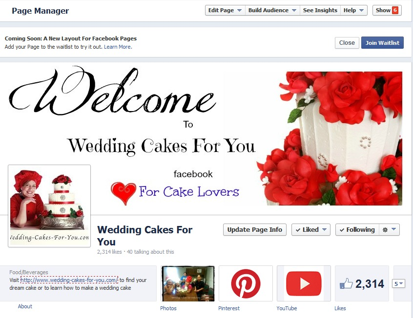 wedding cakes for you facebook screen shot