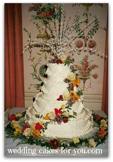 Wedding cake with fresh Nasturtiums