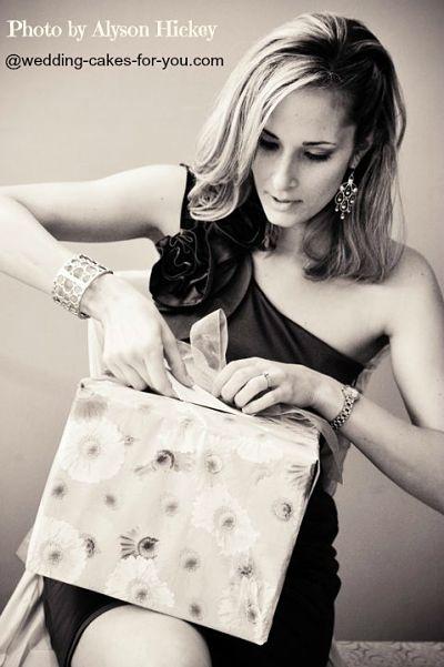Bride opening her gift
