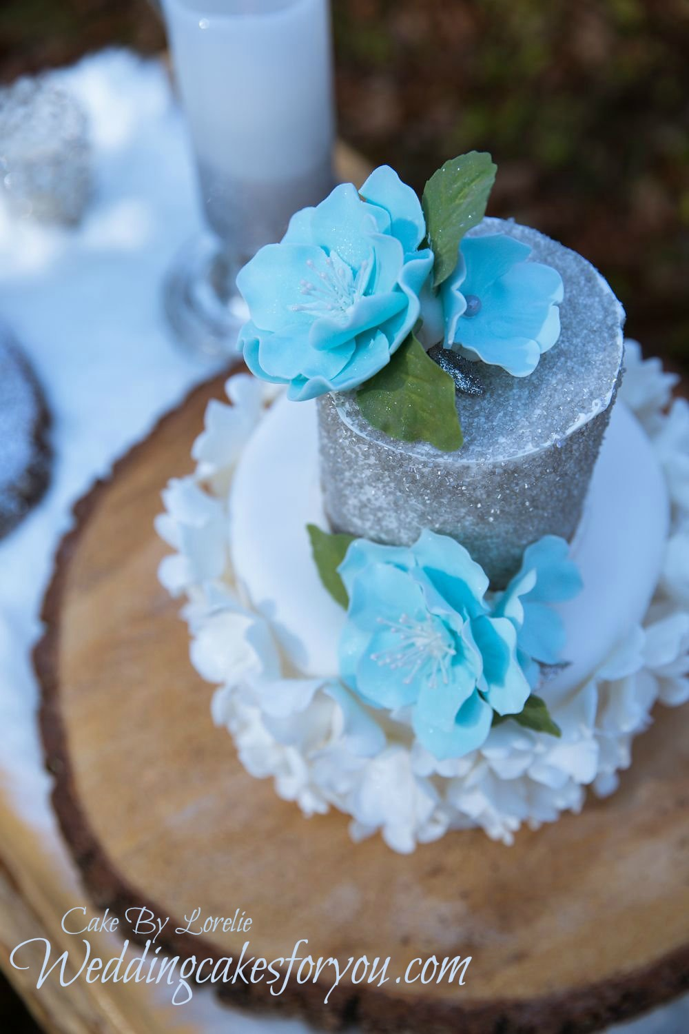 Elegant wedding cake on a rustic cake stand