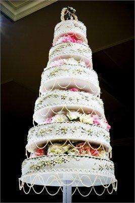 six tiered wedding cake