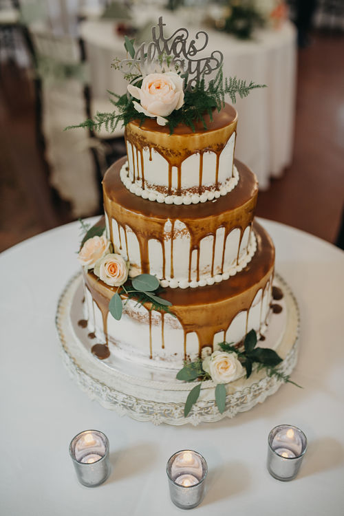 Caramel drip wedding cake