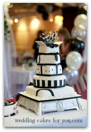 black and white whimsical wedding cake-Istock image