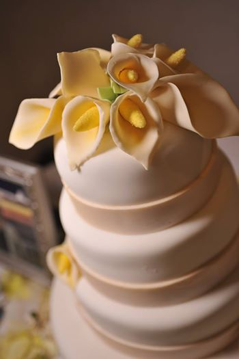 Gorgeous Fondant wedding cake with Calla Lilies by Michael Serrano of Lil Fuggie Cakes