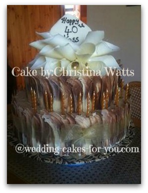 Birthday cake with caramel icing