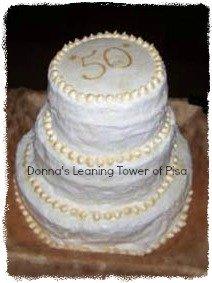 Donnas leaning 50th wedding anniversary cake