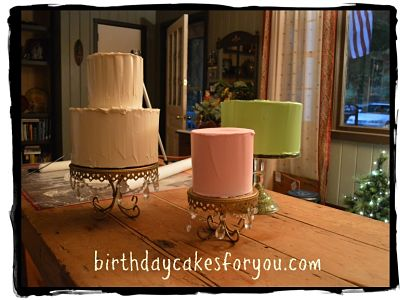 dummy cakes frosted in royal icing