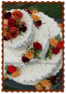 Fall Wedding Cake With Fresh Flowers