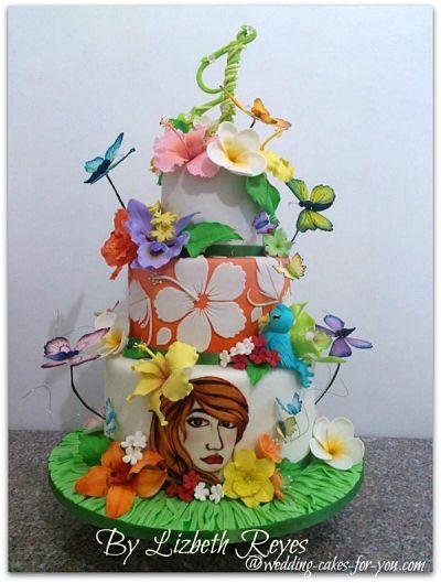 Funky wedding cake by  Lizbeth Reyes