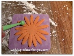 Using the ball tool to widen the gumpaste Daisy petals