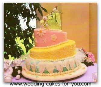 A whimsical wedding cake embellished with fondant