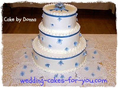 three tiered wedding cake by Donna