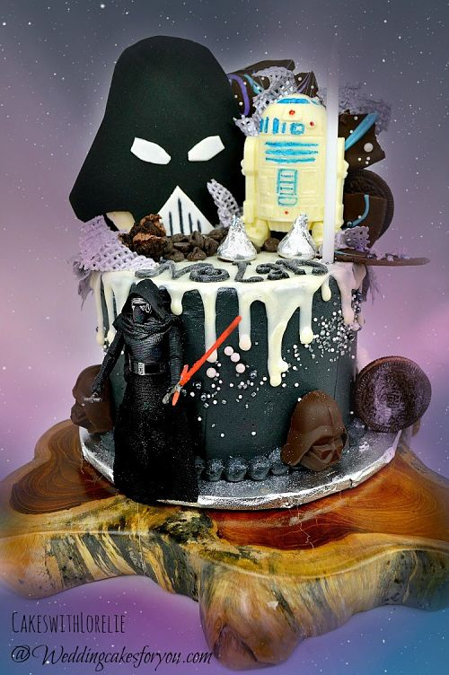 Star Wars cake with Kylo Ren and white chocolate drips with a Darth Vadar mask.