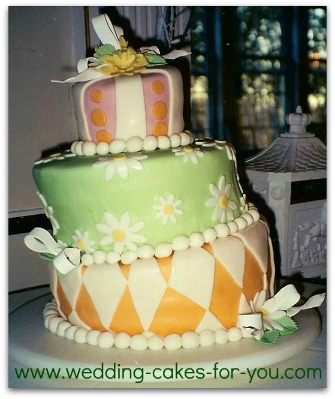daisy topsy turvy wedding cake
