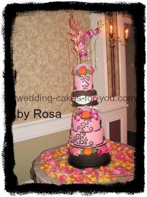 Pink and brown Anniversary cake