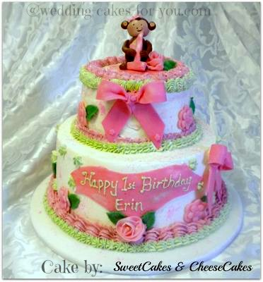 Pink Monkey Cake For A First Birthday