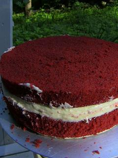 Red Velvet Cake filled and ready for crumb coating