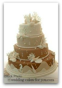 seashell wedding cake made from fondant
