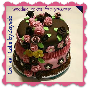 small brown and pink fondant cake