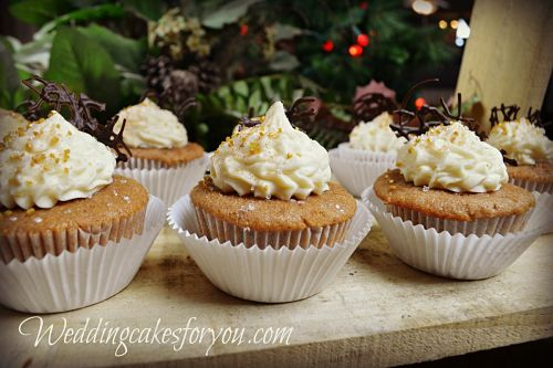 Spice cake cupcakes with browned butter frosting