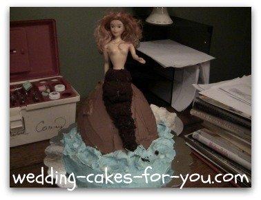 mermaid cake in the process