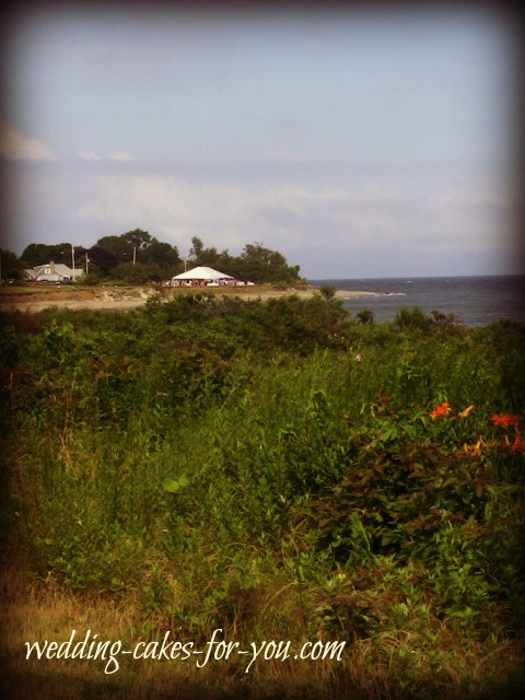 A view of the beach wedding tent