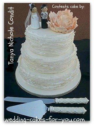 fondant ruffled wedding cake
