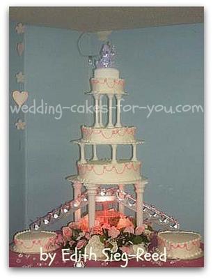 a fountain and bridge cake