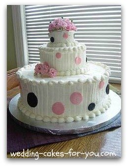 Black and pink polka dot shower cake